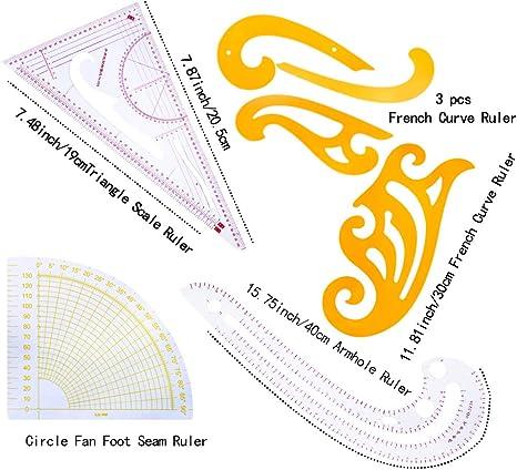 Set de 7 reglas de costura, diseño de moda, para hacer patrones ...
