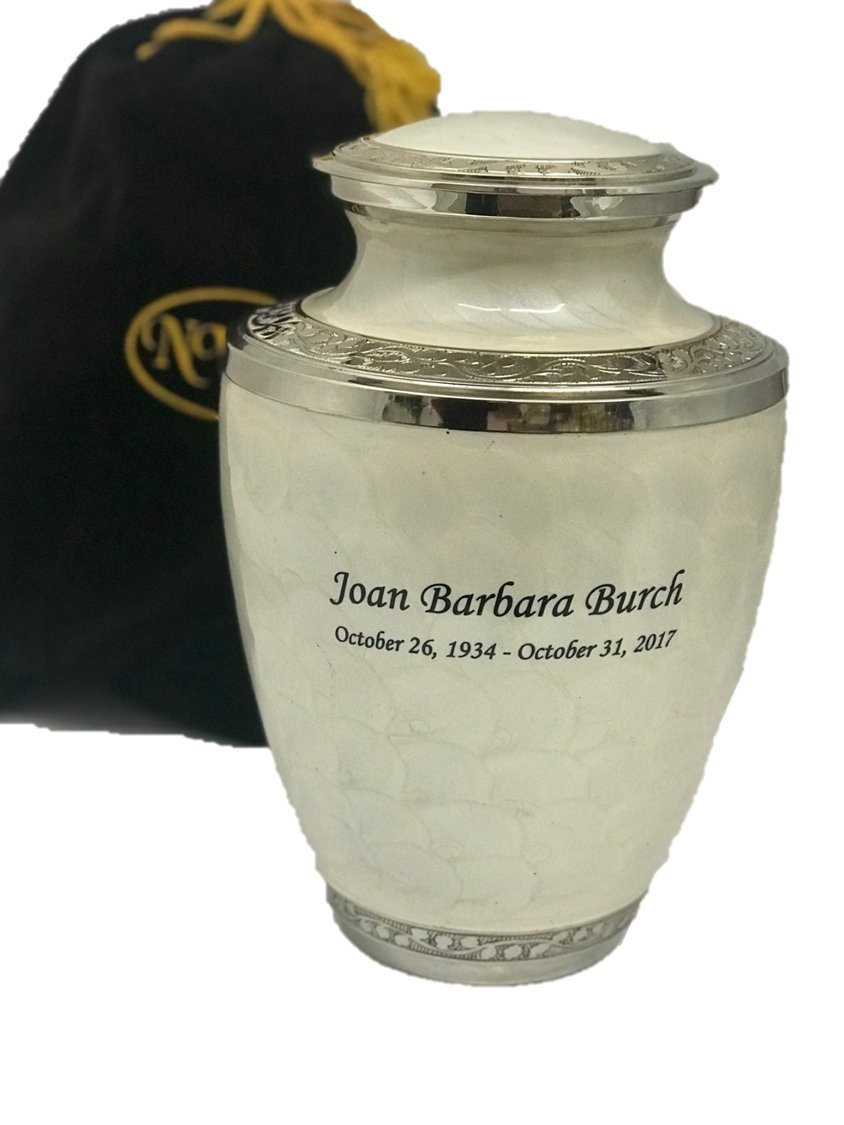 Adult Pearl White Solid Brass Funeral Cremation Urn, Ash Urns With Personalization by NWA