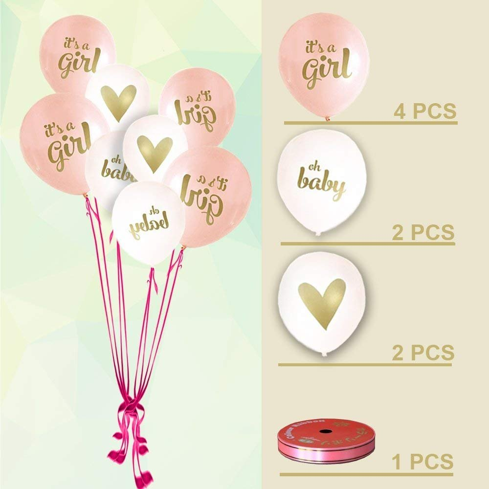 Baby Shower Decorations for Girl - 80PC Bundle Includes - Garland Bunting Banner Bonus+30PC Photo Booth Props Bonus+8PC Balloons Plus+E-Book Prediction Card and Decorations Set with in Ziplock Bag by Golden Babyy (Image #4)