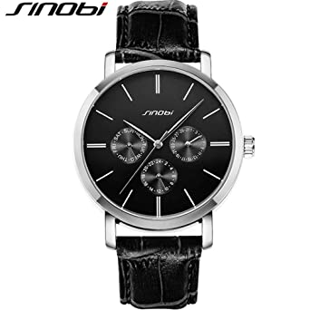 SINOBI Leather Strap Men Watch, Sub-Dials Multifunction Chronograph Stopwatch Men Black reloj de