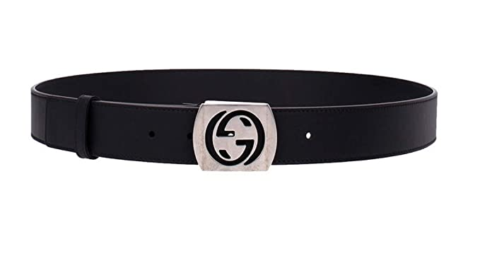 2609c747f38ef3 Gucci Men's Silver Interlocking G Leather Belt 387031 1000 (110/44, Black)