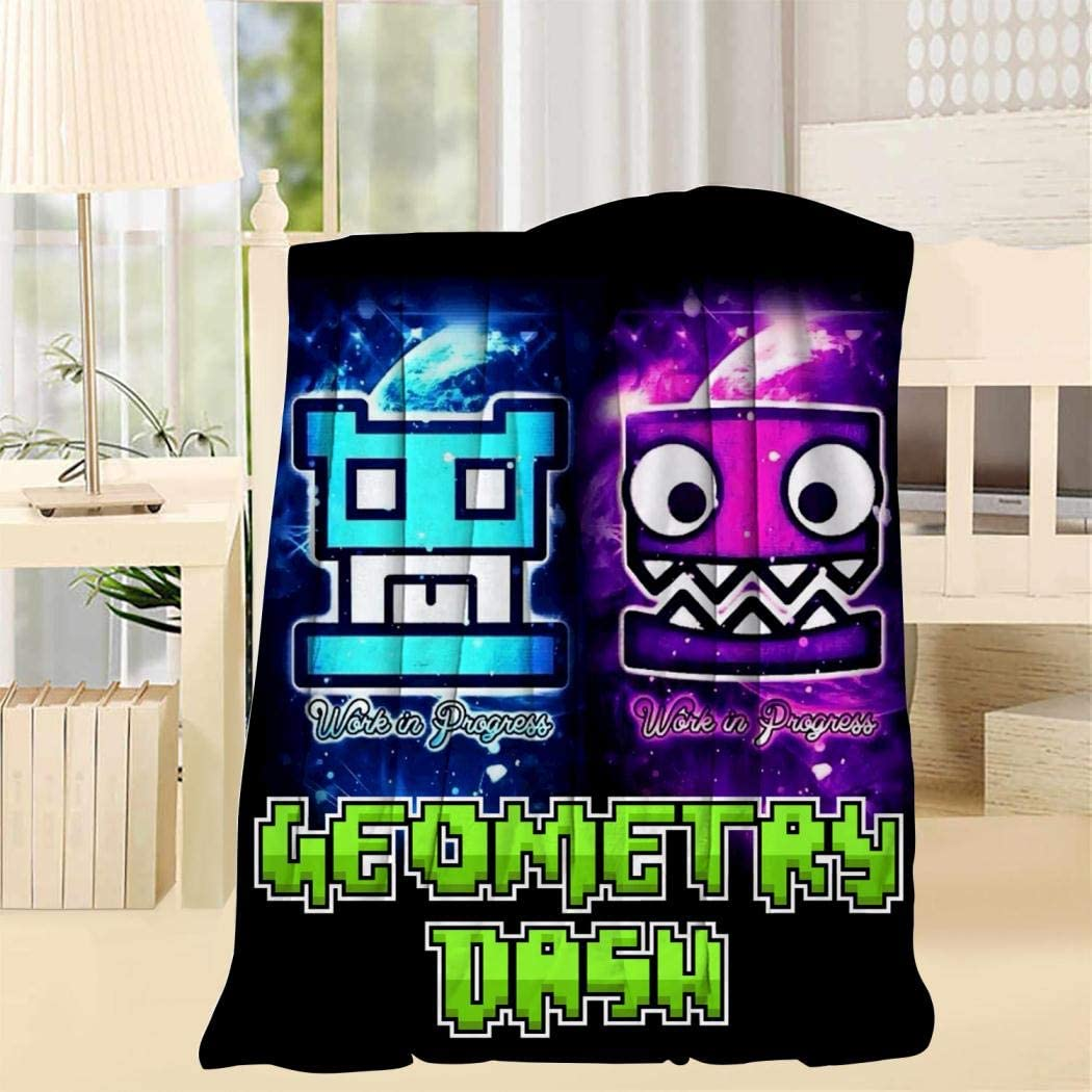 FG7SS6AA5 Pink Blue Cube Geo-metry Super Soft Blanket Fleece Throw Fuzzy Lightweight Cozy Plush Bedding Couch Home