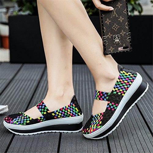 Slip Main la tissé Chaussures à de de élastique Black Respirant sur Chaussures Marche la Chaussures Sport de Les Léger 8833 Femmes wtSSEY