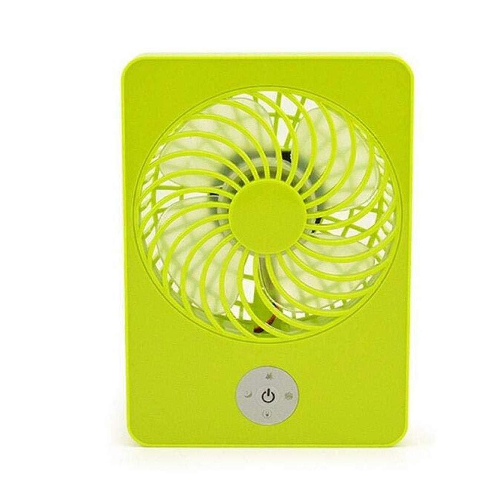 WSJTT ポータブル充電ハンドヘルド、二重使用ミュート強風、学生寮の部屋、デスクトップ小型電動ファンミニポータブルファン、個人用ハンドヘルドファンUSB充電式バッテリー子供屋外用家庭用旅行 (色 : Green)  Green B07PR31JFX