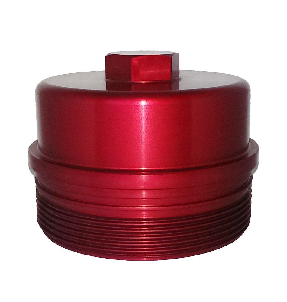 2008-2010 Ford 6.4L Powerstroke Billet Aluminum Red Fuel Filter Cap Forbidden Diesel Performance