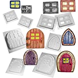 Fairy Door and Window Moulds Set of 8 Concrete or Plaster Molds by dennycraftmoulds.co.uk