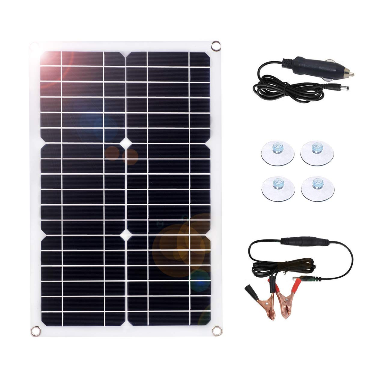 MEGSUN 18W 18V 12V Solar Panel Trickle Charger for Automobile Motorcycle Boat Tractor Power Panel Charger by MEGSUN