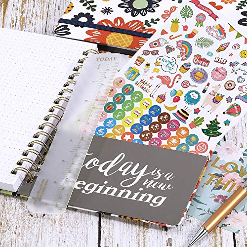 """Dotted Bullet Notebook/Journal - A5 Dotted Bullet Grid Journals, Premium Thick Paper with Bonus Stickers and Page Quick Page Finder, 8.46"""" x 6.42"""", Elastic Closure, Inside Pocket"""