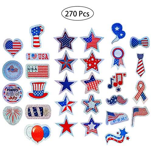 BESTOYARD Patriotic Stickers Holographic Stickers Decoration and Patriotic
