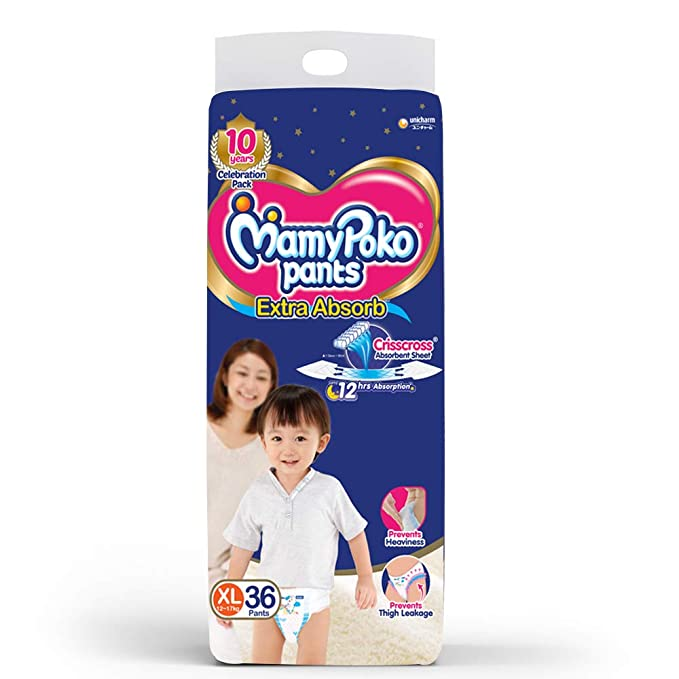 MamyPoko Pants Extra Absorb Diaper   Extra Large Size, Pack of 36 Diapers  XL 36