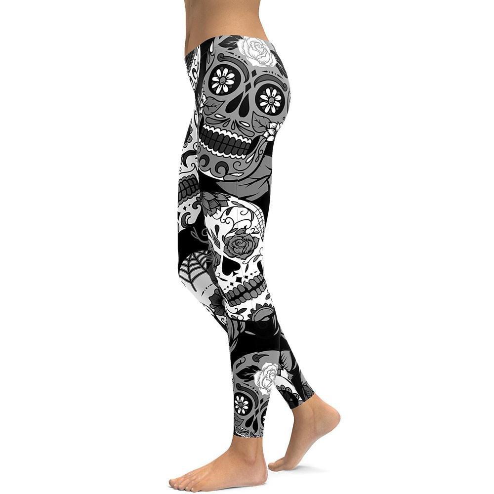 1a23f647e39ed LuckUK Women High Waist Gym leggings Yoga Pants stirrups Skull pattern  Running tights workout Leggings Sports Pants Gym Clothes: Amazon.co.uk:  Clothing