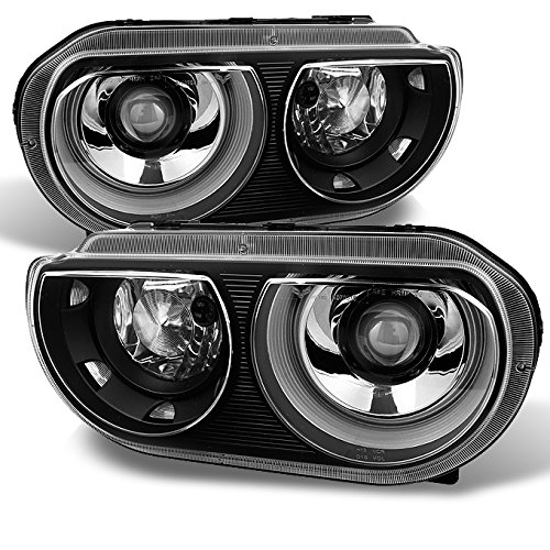 For Dodge Challenger OE Replacement Black HID Xenon Projector Headlights Headlamps Left + Right