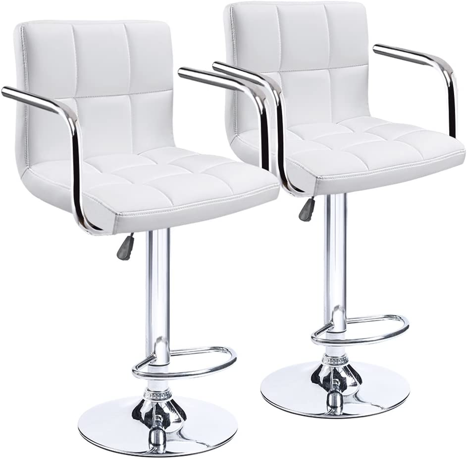 Homall Modern PU Leather Swivel Adjustable Barstools,Synthetic Leather Hydraulic Counter Stools Square Height Bar Stool with Arms Set of 2 White