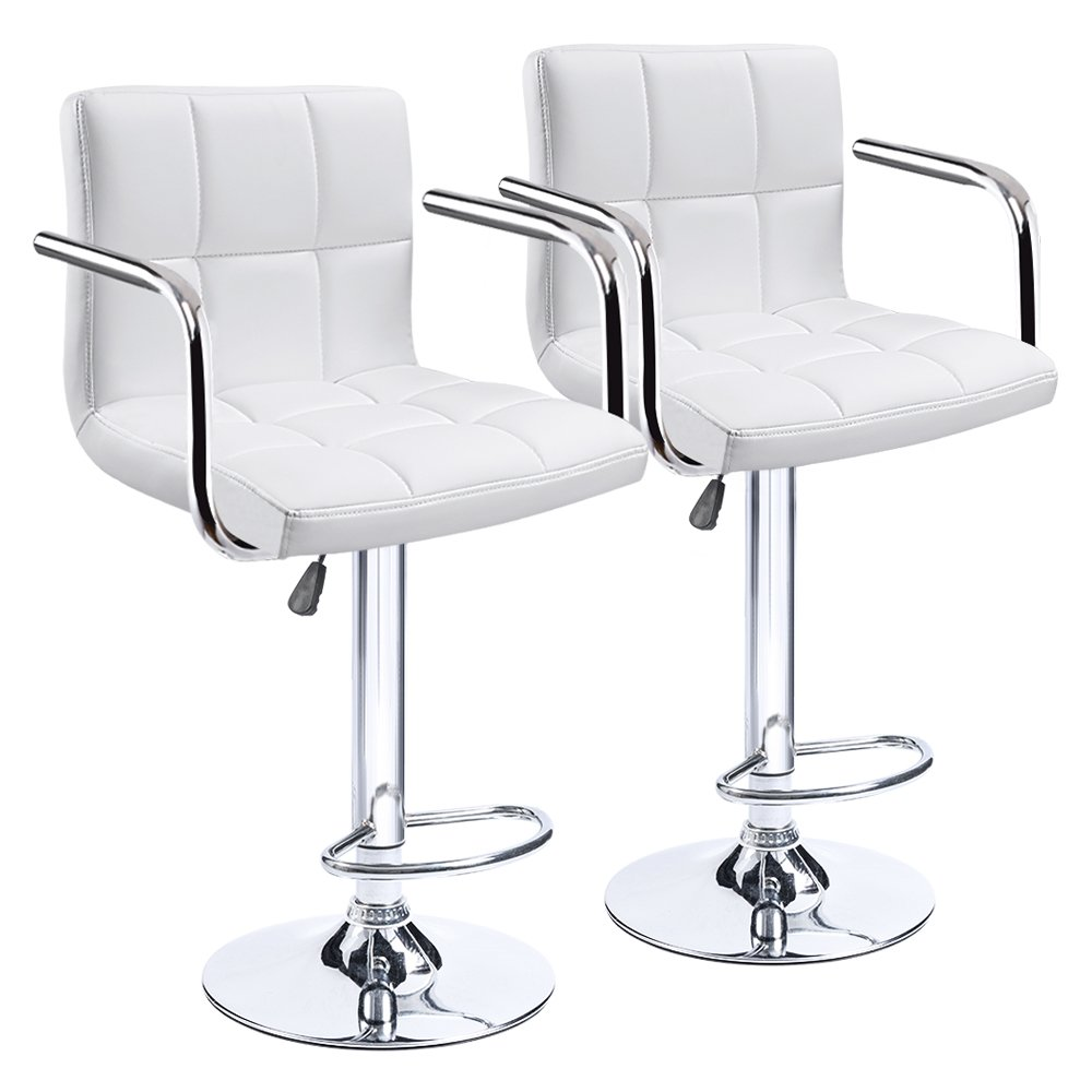 Homall Modern PU Leather Swivel Adjustable Barstools,Synthetic Leather Hydraulic Counter Stools Square Height Bar Stool with Arms Set of 2 (White)