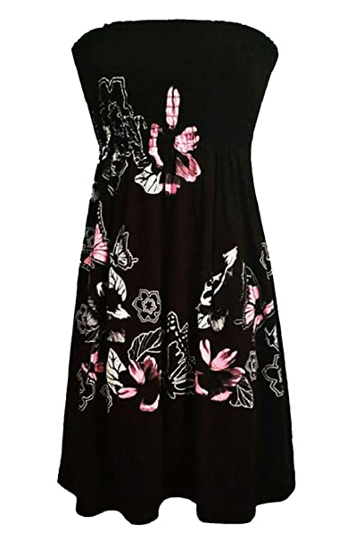 76b02261ae RIDDLED WITH STYLE Women Chunky Floral Print Sheering Top Ladies Bandeau Boobtube  Tunic Party Dress