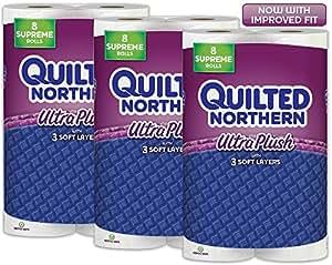 Quilted Northern Ultra Plush Toilet Paper, 24 Supreme (92+ Regular) Bath Tissue Rolls