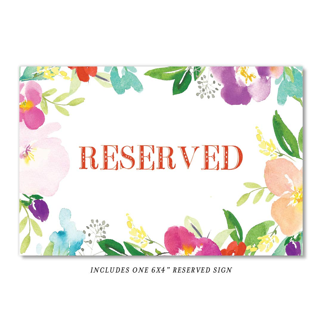 Watercolor Floral Table Numbers Pack of 25 Reserved Seating Single Sided 4 x 6 Set Tropical Flowers Centerpiece Accessories Bridal Shower Wedding Restaurant Catered Dining Event DB Party Studio