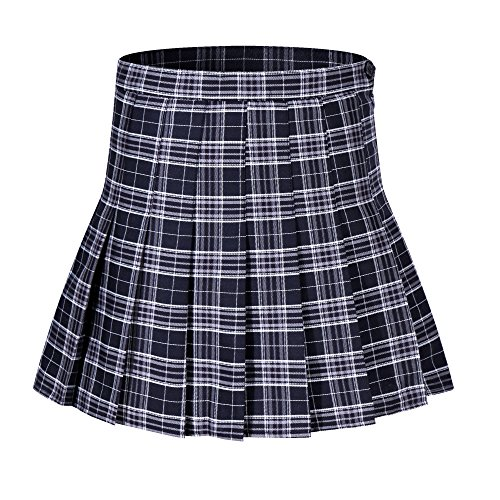 Beautifulfashionlife Girls Plaid Short Skirt School Uniform Skorts Halloween Costumes (XS,Navy Blue White Red)]()