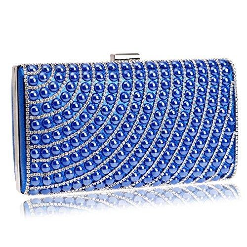 Handbag Bag Lady Bag Evening Dress JESSIEKERVIN Small Diamond Shoulder Purse Clutch Bag Blue Square 6f7RRvqa