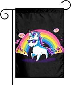 Pizza Donut Funny Cute Nerdy Unicorn Garden Flag Vertical Double Sided Welcome Garden Flag,Small Polyester Yard Flag 12×18 Inch,Memorial Decorative Gift For Home Outdoor