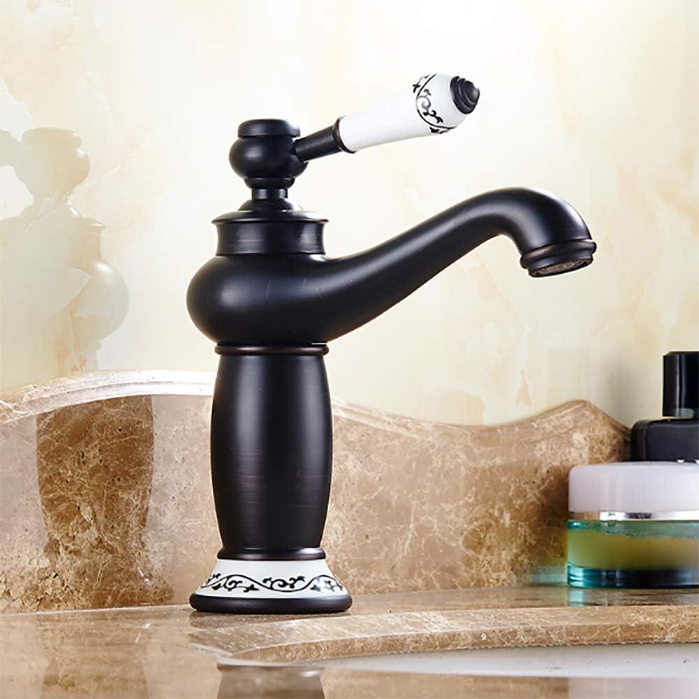 Negro de latón grifo mezclador, mezclador de baño grifo de lavabo grifo monomando de baño Grifo de bronce grifo antiguo, cobre lleno, el retro fría y caliente, Beck Aumenta gallo de cerámica,Negro