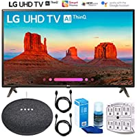 LG 49UK6300 49 UK6300 Class 4K HDR Smart LED AI UHD TV w/ThinQ Google Home Mini Bundle
