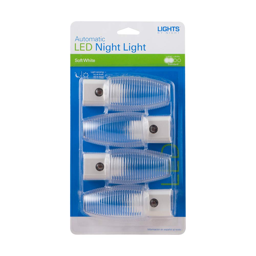 Amazon.com: Lights By Night Automatic LED, 4 Pack, Sensing, Auto On/Off, Soft White, Clear Shade, Ideal for Bedroom, Bathroom, Hallway, Stairs, ...