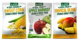 Sensible Foods All-Natural Gluten Free Vegan Non-GMO Crunch Dried Snacks 3 Flavor 9 Bag Variety Bundle: (3) Apple Harvest Fruit, (3) Sweet Corn, and (3) Tropical Blend Fruit, .32-.42 Oz. Ea. (9 Bags)