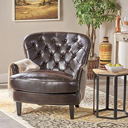 Brown Accent Ottoman (Alfred Tufted Brown Bonded Leather Club Chair, Contemporary Lounge Accent Chair)