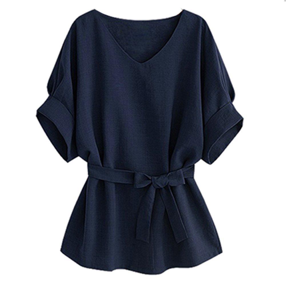 Women Vogue V-neck Linen Wide Hem Plus Size Tunic Blouse Tee T-Shirt Tops SPC10530
