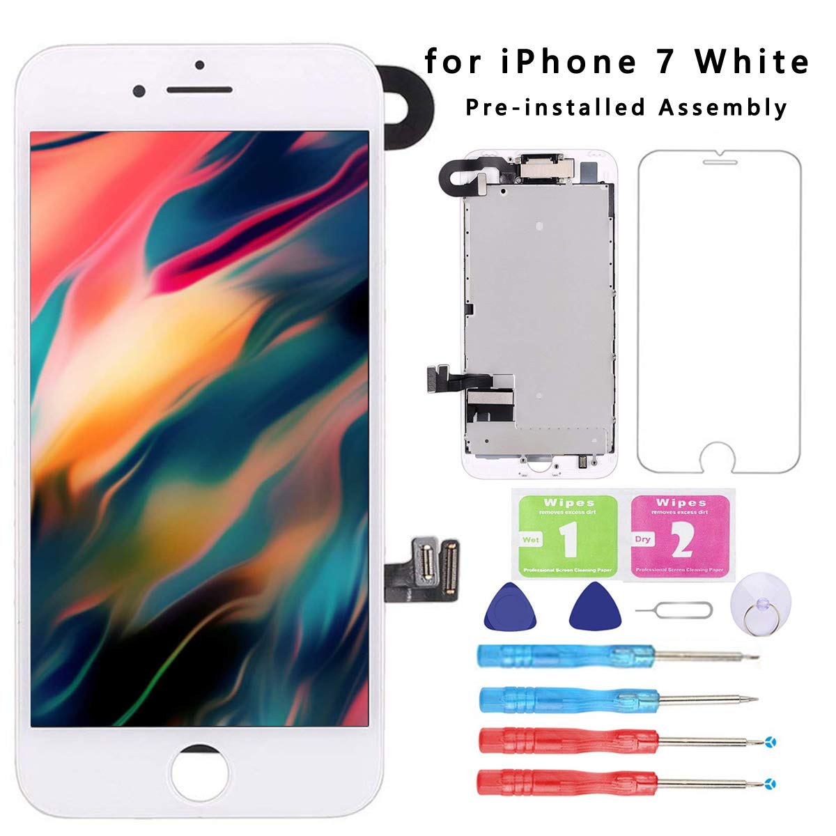 Screen Replacement for iPhone 7 White 4.7''Full Assembly LCD Display Touch Digitizer with【Front Camera】【Proximity Sensor】【Earpiece Speaker】 Screen Protector, Repair Tools