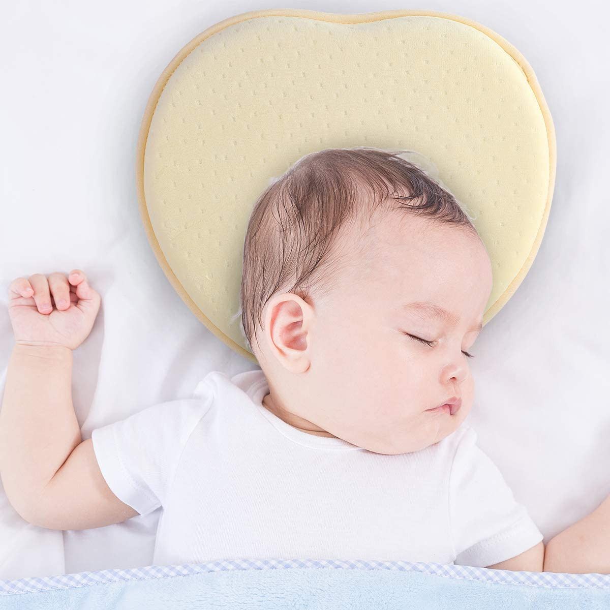 DaMohony Baby Pillow for Newborn Baby Head Shaping Pillow Soft Memory Foam Pillow with Neck Support for 0-12 Months