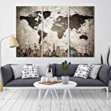 World Map Canvas Print, Wonder of World Map Push Pin Canvas Print, Large Wall Art World Map Push Pin Canvas Print