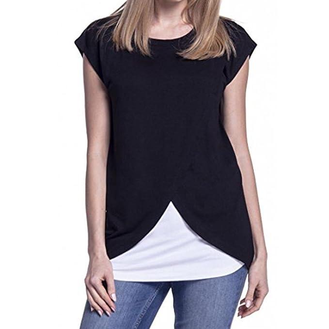 Damen Sommer T-shirt,LILICAT Umstandsmode Frauen Oberteile Rundhals Tuniken  Casule Kurzarm Blusen Mode