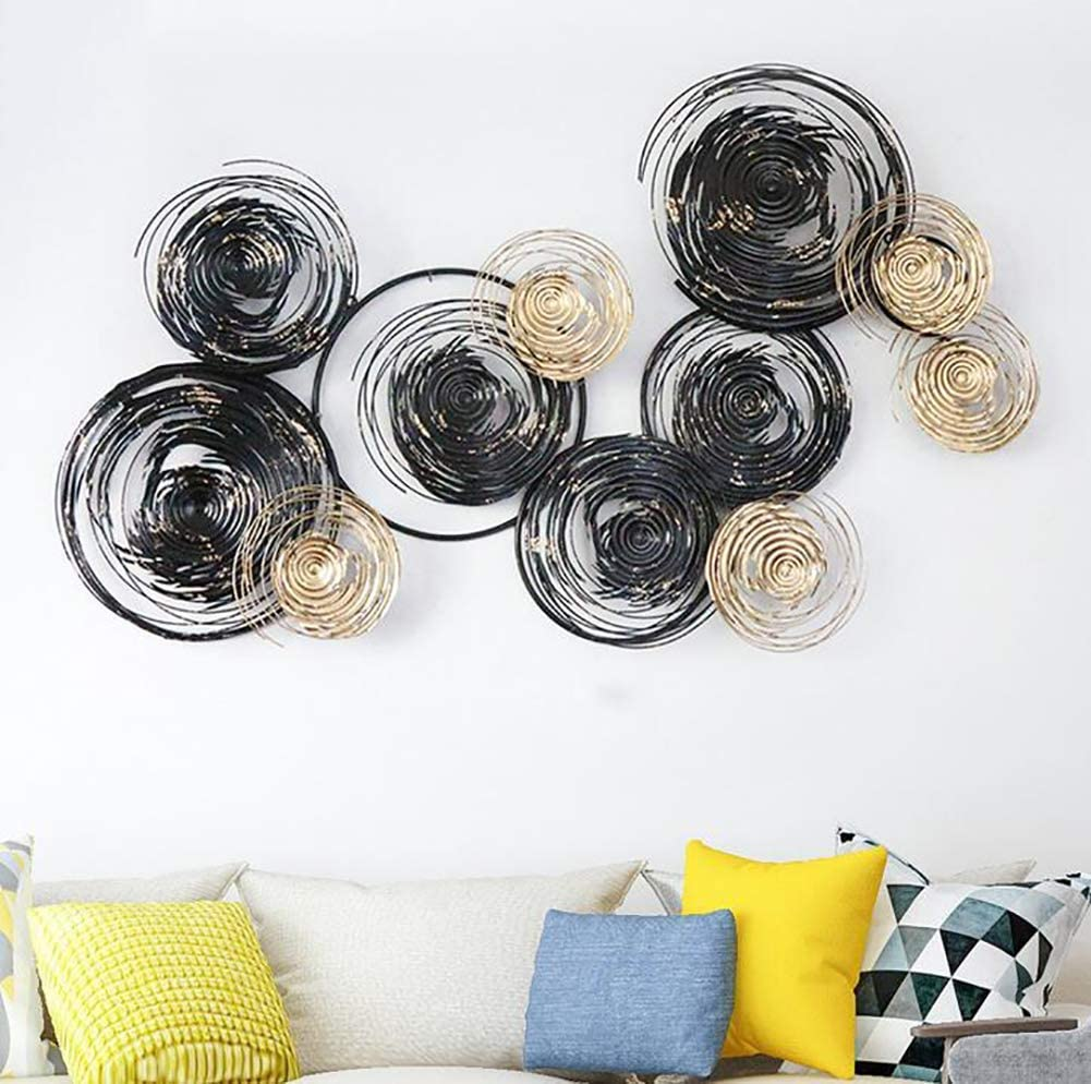 Manual 3D Stereo Wall Decor Outdoor Indoor Hanging Sculpture, Black Gold Frame, Metal Circle, Wall Art for Home, Bedroom, Living Room, Office, Garden 145 x 86cm / 57