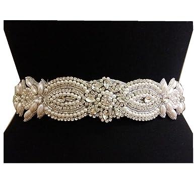 Amazon Com Trlyc Vintage Bridal Sash Pearl Crystal Wedding Belt