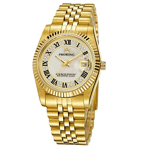 Amazon.com: Mens Quartz Gold Watch Stainless Steel Two-Tone Automatic Black Dial Wrist Watch: Watches