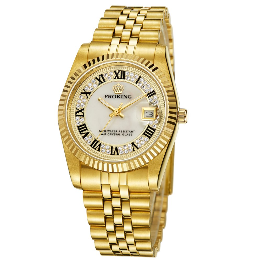 Men's Commuter Multifunction Gold Stainless Steel Automatic Cream Dial Watch #W21189