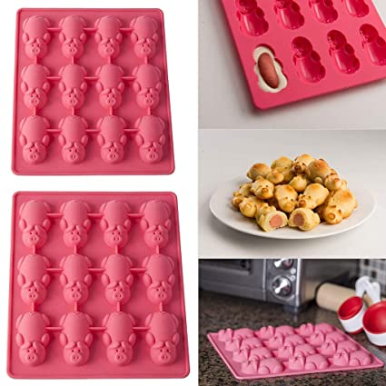 12 Little Pigs in a Blanket Silicone Baking Mold,Christmas Silicone Pig Shape Cake Molds
