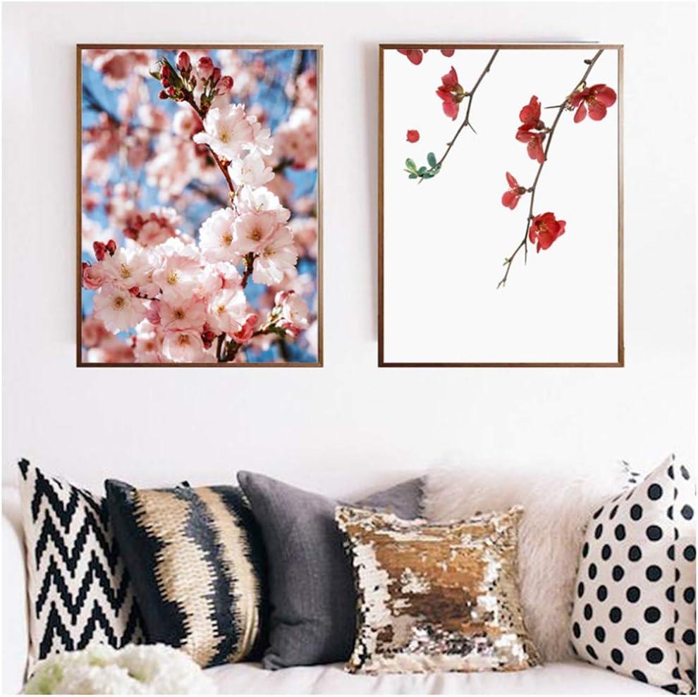 Lienzo Arte de la pared Flor Blanco Rosa Cereza Pintura Camelias Cartel Flores Imagen de la pared para la sala Decoración de la habitación de las niñas 50x70cm (19.7x27.6 pulgadas) x2 Con marco