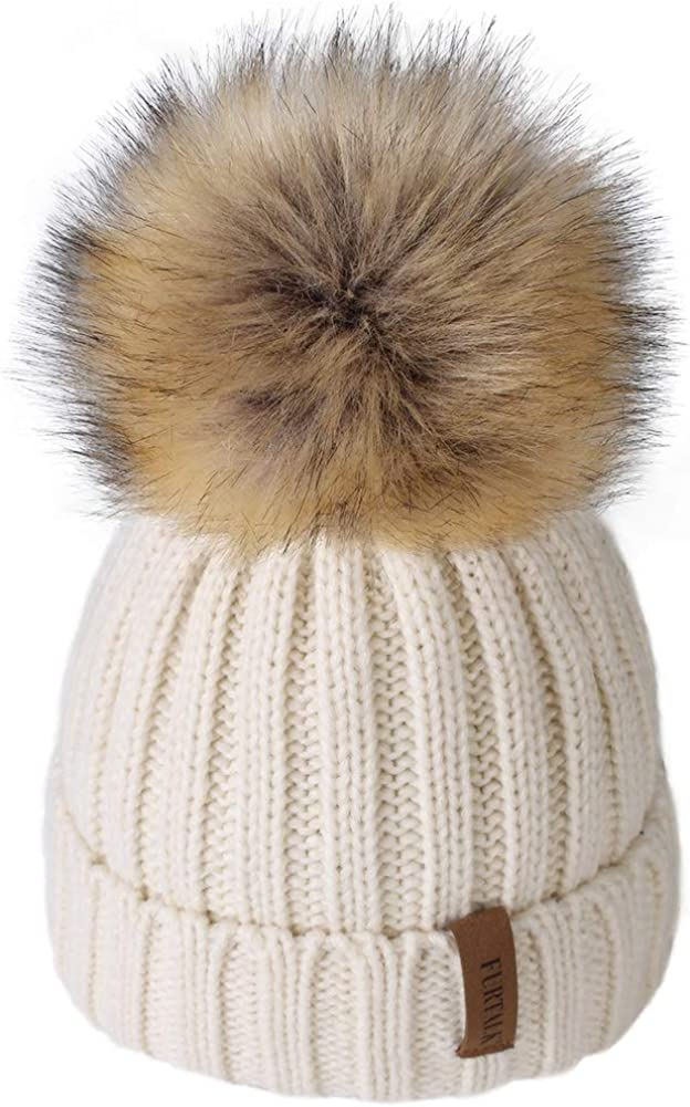 Kids Winter Knitted Pom Beanie Bobble Hat Cotton Lined Faux...