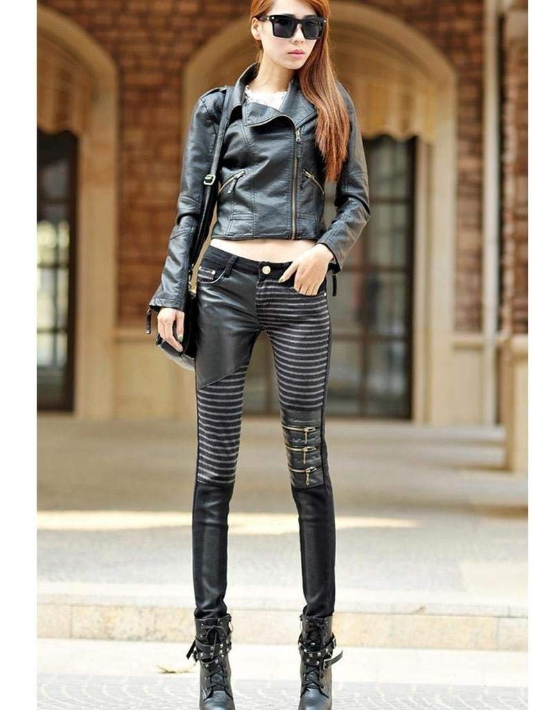 MTOFAGF Pu Leather Jeans for Women 2016 Fashion Casual Pants Feet Denim Jeans for Woman Pencil Pants MTOFAGF Brings You The Best Color : Brown, Size : 28