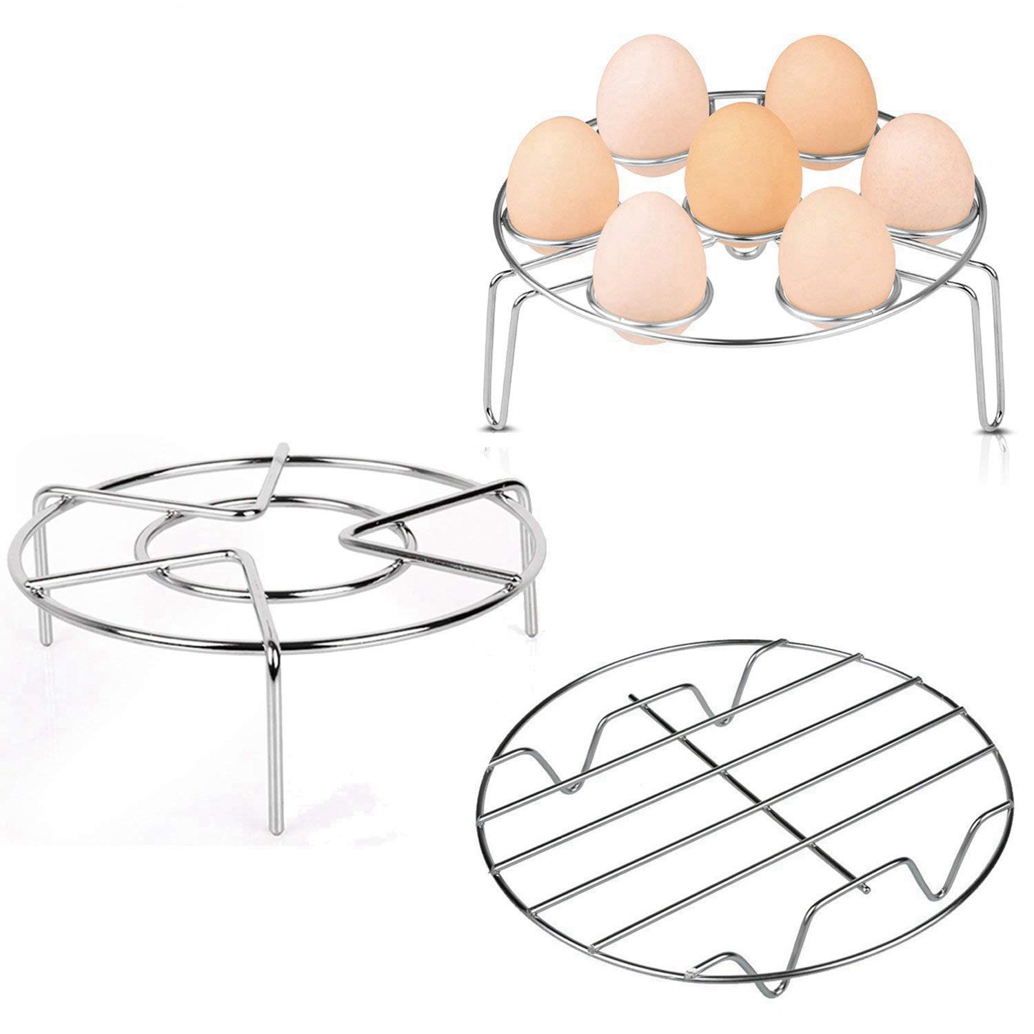 Steaming Rack, APHQUA Stainless Steel Steamer Rack Stand Wire Steaming Rack and Egg Steamer Rack for Pressure Cooker Kitchen Cooking Steaming Holder(3Pack)