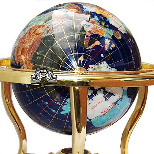 13 Grand 220MM Diam/ètre bleu Lapis oc/éan Desk Top Globe Gemstone avec de lor tr/épied