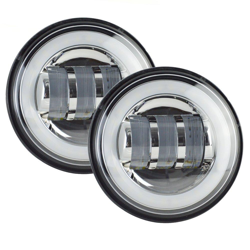 7 Cree Round Chrome Led Headlight Amp 2x 4 5 Led Fog