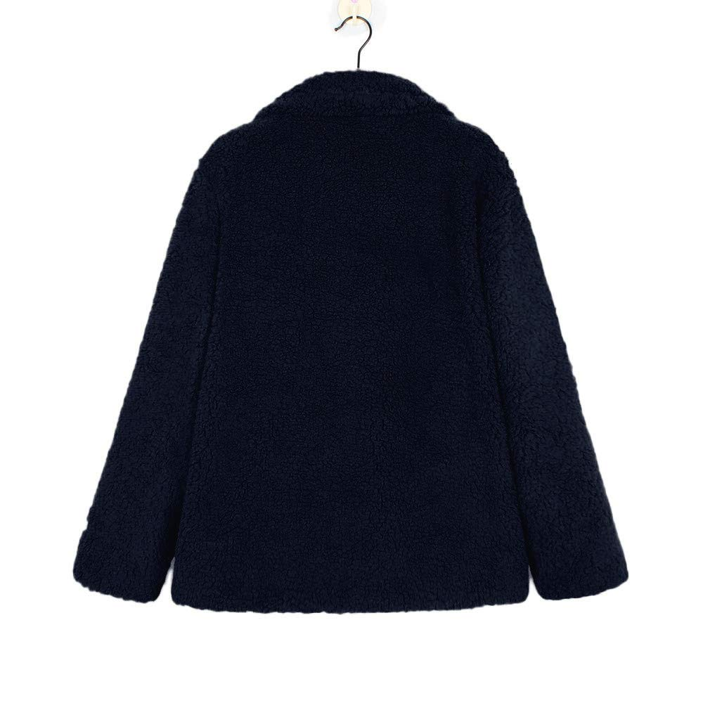 Perman Womens Winter Fashion Faux Fleece Open Front Coat Long Sleeve Solid Outerwear with Pockets Clearance Sale