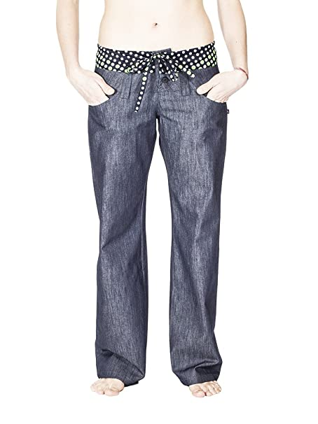 Anoushka Pata Ancha, Pantalones para Mujer, Azul (Azul Vaquero), 40 (Tamaño del Fabricante:L)