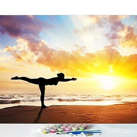 Pintura Por Número Kits De Bricolaje Chica De Yoga Junto Al ...