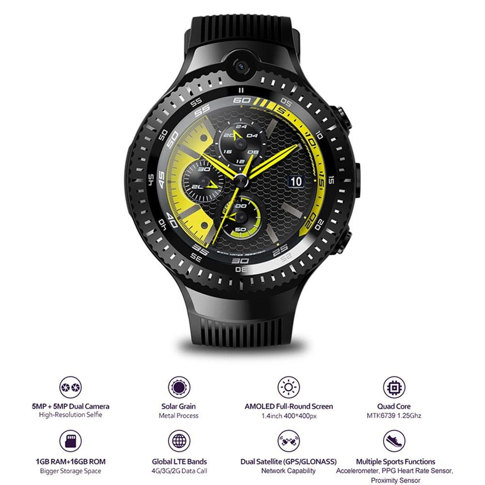 TEEPAO Zeblaze Thor 4 Dual Camera 4G SmartWatch, 1GB 16GB MTK6739 Quad Core WiFi Android 7.1 Smart Watch Multi Sport Mode Fitness Tracker Support ...