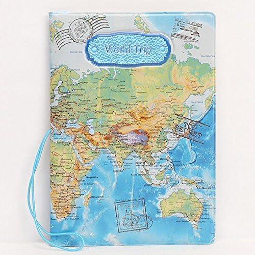 Hujinlder PU Leather World Map Passport Cover Holder ID Card Ticket Travel Bag